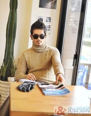 男性冬天高领毛衣整体搭配技巧