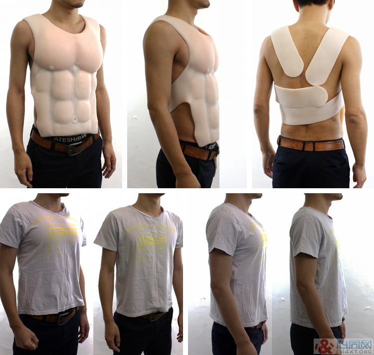 """矽胶胸肌男人""""假肌肉""""瞬间变猛男"""